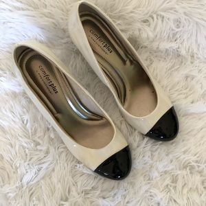 Black and white short heel shoes